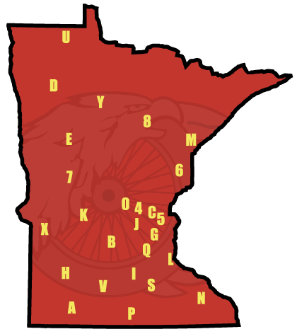 State of Minnesota Map with Chapter Indicated